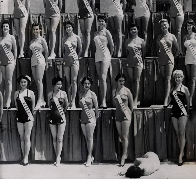 miss-new-zealand-falls-unconscious-miss-universe-competition-long-beach-15th-july-1954