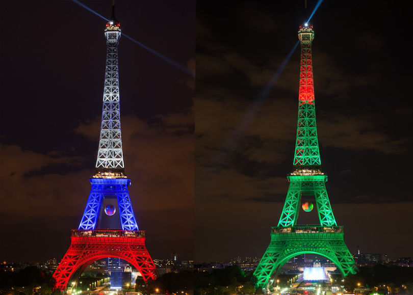FILE PHOTO - (EDITORS NOTE: COMPOSITE OF TWO IMAGES - Image numbers (L) 540466694 and 544013996) In this composite image, the Eiffel Tower is lit up in the colours of the two finalists France (L) and Portugal.France and Portugal meet in the EURO 2016 Final on July 10, 2016 at the Stade de France in Paris,France.   ***LEFT IMAGE*** PARIS, FRANCE - JUNE 15: The Eiffel tower is lit up in the colors representing France for the 'EURO 2016' Twitter contest organized by French telecom operator 'Orange' on June 15, 2016 in Paris, France. The Eiffel Tower was displayed in lights after the Albania v France's match during the UEFA 2016 European Championship. at Eiffel Tower on June 15, 2016 in Paris, France. (Photo by Thierry Orban/Getty Images) ***RIGHT IMAGE*** PARIS, FRANCE - JUNE 30: The Eiffel tower is lit up in the colors representing Portugal for the 'EURO 2016' Twitter contest organized by French telecom operator 'Orange' at Eiffel Tower on June 30, 2016 in Paris, France. (Photo by Thierry Orban/Getty Images)